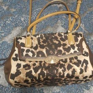 Coach Madison ocelot print satchel